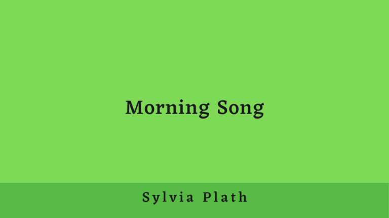 Morning Song | Summary and Analysis